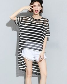 Oversize black and white stripe t shirt for women short sleeve t shirts.  Sunny · Loose high low blouse for women · Hollow lace up ... 91f8751c2