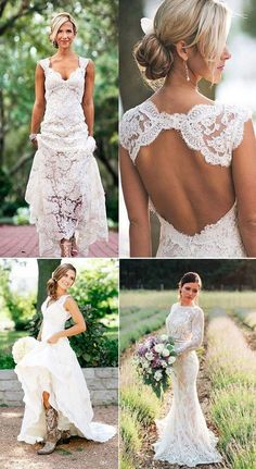 2e1e2538eee8 25 Best Outdoor Rustic Chic Country Wedding Ideas. Simple Country Wedding  DressesSimple Lace Wedding DressBackless ...