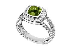 peridot and diamond ring in white gold