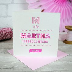 Personalised New Baby Girl Card Typography By BoutiqueStationeryCo Congratulations Cards