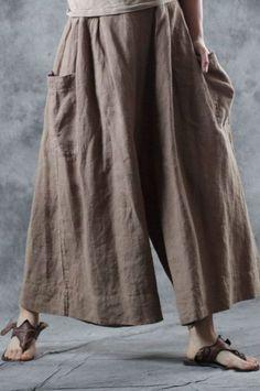 Buy Comfy Ramie Khaki Pants Womans Plus Size Genie Pants in Pants online shop, Morimiss offers Pants to make you feel comfortable Boho Fashion, Vintage Fashion, Fashion Outfits, Vintage Style, Wide Leg Pants, Khaki Pants, Blouses For Women, Pants For Women, Genie Pants