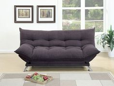 SKU: PDEX-F7897 A sporty and luxurious design graces the surface of this super plush pillow-style adjustable sofa that features accent tufting and short silver leg supports. Available in dark fiber, w