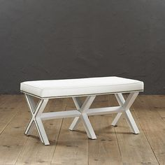 """Ballard Double X Bench with Nail Heads features:  Artisan crafted & upholstered in North Carolina -- Available in Off-White Twill      Pewter or Aged Brass nail head trim  -- Special Order in your choice of fabrics  20 1/2""""H X 42 1/2""""W X 20 1/2""""D."""