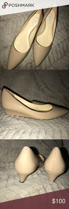 "Like new Cole Hana 1"" wedge Pointed toe nude leather 1"" wedge heel. Great substitute for a flat ! Like new Cole Haan Shoes"