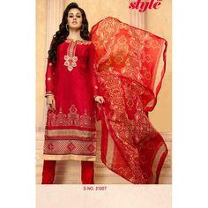 Eid Special Designer Red French Crepe Churidar Suit-587-21007( OFB-587 )Karishma