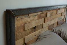 Reclaimed Wood And Iron Steel Headboard