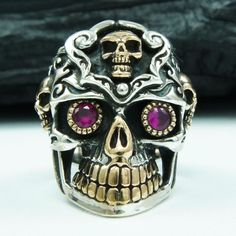 RUBY EYES SUGAR SKULL 925 STERLING SILVER US SIZE 12.5 BIKER RING jo-r006 #Handmade