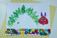 cute leaf print very hungry caterpillar - we'll have to add this to our school curriculum.  love it. leaf print, the hungry caterpillar, fall crafts, kid art, kindergarten art, leaf art, hungri caterpillar, eric carle, art projects