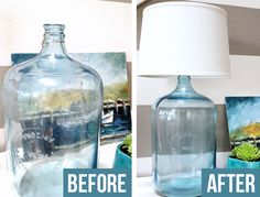 How to make a lamp! This post explains how to make a lamp with an old glass water jug but you can make a lamp out of anything! Come see the DIY! Glass Water Jug, Large Glass Bottle, Glass Bottles, Water Jugs, Wine Bottles, Water Bottle, Garrafa Diy, Diy Bottle Lamp, Make A Lamp