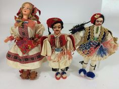 #Greek Vintage Lot 3 #Costumedoll International Costumes,  Handmade Greece Exc