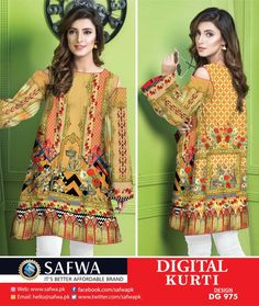 SAFWA WOMEN APPAREL BRAND - Pakistani dresses - Collections of summer and winter designer dresses, Pret shirts, kurtis, tops, 2 piece and 3 pieces dresses. Shop now Cash on Delivery. Pakistani Fashion Casual, Pakistani Outfits, Kurti Collection, Winter Collection, Printed Kurti, Design Seeds, Textile Design, Designer Dresses, Embroidery Designs