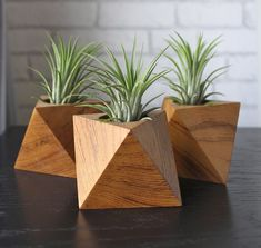 Teak Wood Planters Geometric Shapes  Octahedron / by WoodenBorough