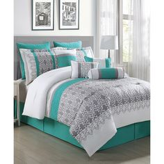 S.L. Home Fashions Gray, White & Teal Luna 10-Piece Comforter Set ($85) ❤ liked on Polyvore featuring home, bed & bath, bedding and comforters