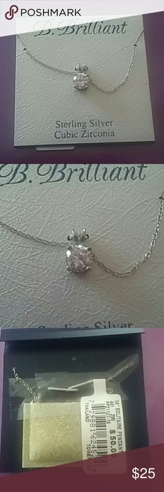 "Clear cubic zirconia  silver solitaire pendant NWT Brand- B Brilliant 18"" solitaire pendant necklace . Sterling  silver.  NWT. B . Brilliant  Jewelry Necklaces"