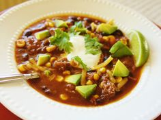 365 Days of Slow Cooking: Recipe for Slow Cooker Easy Beefy Mexican Soup with Avocado