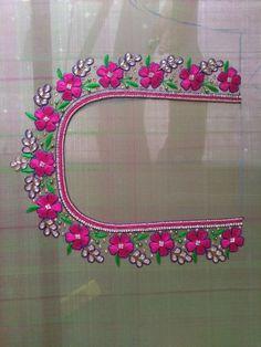 Cutwork Blouse Designs, Kids Blouse Designs, Simple Blouse Designs, Embroidery Neck Designs, Floral Embroidery Patterns, Blouse Neck Designs, Hand Designs, Mirror Work Blouse Design, Kutch Work Designs