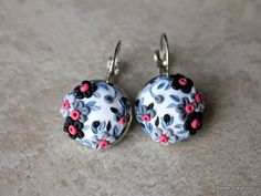 Polymer Clay Applique Floral Earrings by charancreations on Etsy