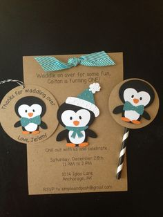 Penguin with Blue Bowtie Custom Made Birthday Party Pack, Handmade and Personalized Invitations, Thank You Tags, & Cupcake Toppers