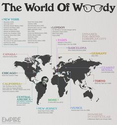 Enter The World Of Woody - a global map of Woody Allen films. Alfred Hitchcock, Citations De Woody Allen, Woody Allen Quotes, Global Map, Film Inspiration, Paris City, Information Graphics, About Time Movie, Artists