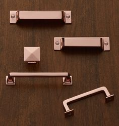 With a design that emphasizes clean lines and a boxy shape, the Mission Bin Pull is a favorite on cabinetry in kitchens, bathrooms, and laundry rooms and makes a classic statement adorned on furniture pieces as well.  * Copper-plated brass * Also available in assorted finishes over brass * Imported