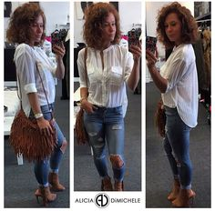 """What To Wear Today:  A little update to your everyday white blouse! Texture, no collar, double breasted pockets, and a little bit of sheer. Distressed skinny jeans & fringe. Lots of fringe.  Get the look  •medium wash skinny jean •fringe crossbody •textured collarless shirt SHOP: www.aliciadimichele.com USE: promo-code """"FREESHIP"""" to get your items shipped at no cost to you."""