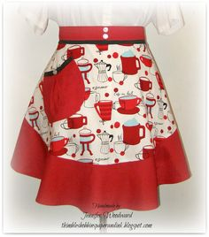 Coffee Espresso themed Flouncy Half Apron with red black