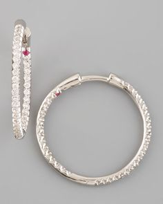Roberto Coin Inside/Outside Diamond Hoop Earrings, with designer's signature tiny ruby set into the piece