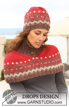 "Cherry Nougat Set - Knitted DROPS hat and neck warmer in ""Nepal"" with Norwegian pattern. - Free pattern by DROPS Design"