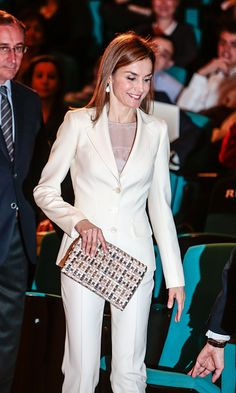 Queen Letizia dazzles in chic white pantsuit at science museum