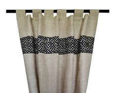 Burlap Curtains In Ivory Burlap Drapes With Chippendale Embroidery