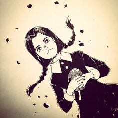 """(""""Wednesday Addams"""" by Audra Furuichi for #SketchDailies. October 9, 2014   via Flickr) #AddamsFamily #fanart"""