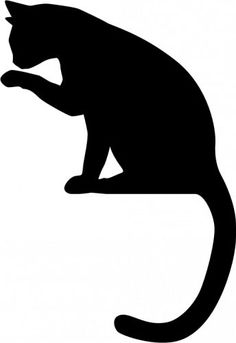 cat sitting on ribbon appliqué idea Animal Silhouette, Silhouette Art, Cat Template, Templates, Image Icon, Cat Quilt, Scroll Saw Patterns, Black And White Drawing, Cat Crafts