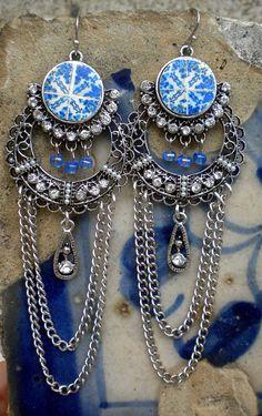 Portugal Tile Replica Chandelier Earrings Blue Foto by Atrio,