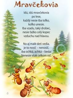 detské básne - Hľadať Googlom Early Education, My Baby Girl, In Kindergarten, Diy And Crafts, Poems, Preschool, Teaching, Anna, Animals