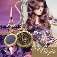 Mi Moneda Swarovski Diva coin in Smokey teamed with the purple Suede coin, set in gold plated pendants and necklace. #LoveMiMoneda