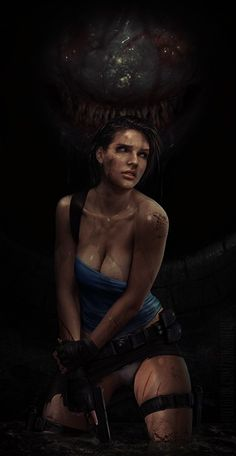Jill Valentine and The Gamma Hunter by on DeviantArt Carlos Resident Evil, Tyrant Resident Evil, Resident Evil Girl, Resident Evil 7 Biohazard, Resident Evil 3 Remake, Resident Evil Anime, Female Character Concept, Game Character Design, Fantasy Characters