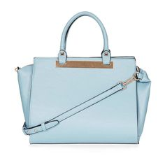 A ladylike bag is a must-have this season. Keep it interesting by toting one in a pastel color. PLATED HOLDALL, £40, Topshop