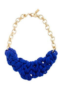 J. Crew OGJM Hyacinth Necklace - this bold piece gives a nod to the nautical aesthetic while simultaneously flipping it the bird. It is classic yet unexpected, like a debutante with the mouth of a sailor. This piece feels a bit preppy, yet is unapologetically impolite. The sophistication of the shiny gold links is interrupted by an organic, somewhat messy tangle of knotted jersey in a vibrant, sea-worthy hue. Summer's answer to a favorite fall scarf. Imperfectly perfect. #r29summerstyle