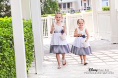 These nautical flower girl dresses are the perfect fit for a wedding at Sea Breeze Point #Disney #stripes