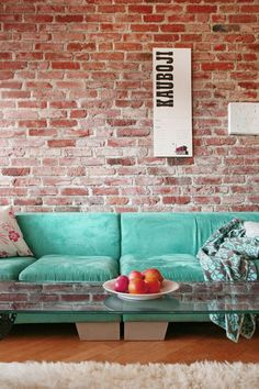 Interior : Dashing Interiors with Exposed Brick Walls - Fancy Living Room Design Ideas With Brick Wall And Turquoise Accent