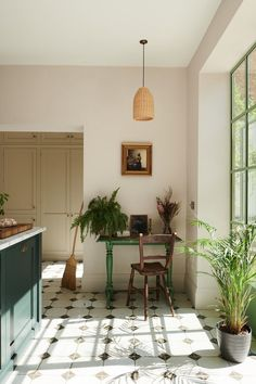Hats off to the interior designer owner of this beautiful basement kitchen in Chiswick, London. To turn a basement (let's face it they're usually dark aren't they?) into such a light filled and characterful space in the middle of a pandemic is a feat to be proud of.  #Kitchen #Basement #GroundFloor #Green #Tiles