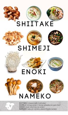 Japanese mushroom varieties: Must say mushrooms are a favourite of mine. Mushroom Varieties, Asian Recipes, Healthy Recipes, Japanese Dishes, Japanese Food Names, Food Facts, Korean Food, Love Food, Food Inspiration