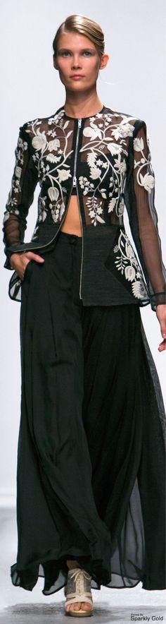 Rahul Mishra ~ Spring Black Sheer Blouse w White Embroidery + Black Maxi Pleated Skirt 2015