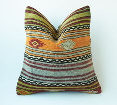 Vintage Decorative Kilim Throw Pillow 16'' x by TurkishCraftsArts, $58.00
