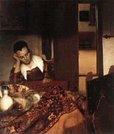 A Maid Asleep Johannes Vermeer (Dutch, Delft Delft) Date: Medium: Oil on canvas Dimensions: 34 x 30 in. x cm) The Metropolitan Museum of Art Johannes Vermeer, Henri Matisse, Rembrandt, Metropolitan Museum, Vermeer Paintings, Art Paintings, Painting Prints, Art Prints, Art History