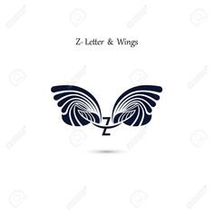 Z-letter sign and angel wings.Elegant dynamic alphabet letters with wings. Creative Logo, Creative Design, Wings Icon, Flat Web Design, Corporate Branding, Logo Templates, Monogram Template, Alphabet Letters, Letter Monogram