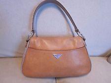Aut PRADA Pebbled Leather Camel Shoulder Bag