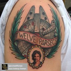 Tweleve Parsecs. Millenium Falcon and Traditional Portrait of Han Solo!  You can find the owner of this tattoo or the artist behind this tattoo by following the usernames in the grey box.
