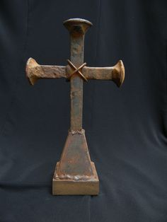 Rusted Old Railroad Spike Cross