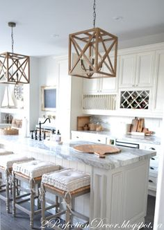 2PerfectionDecor.blogspot.ca ,farmhouse Kitchen Reveal,wood pendants, large island, Fantasy brown quartzite granite, BM linen white painted cabinets, natural elements, plate rack